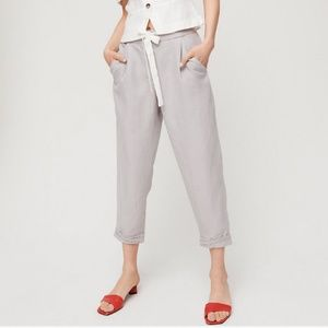 Aritzia Wilfred Allant Cropped Linen Pant